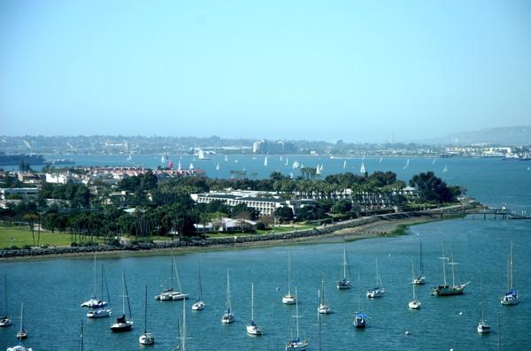 View of Coronado Island from the historic Coronado-Bridge