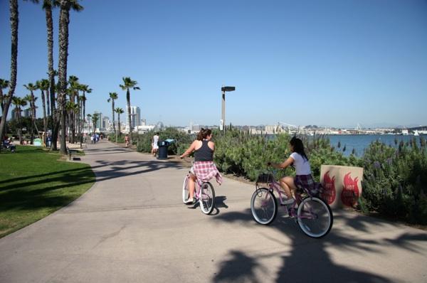 Women biking biking underneath the Coronado Bridge