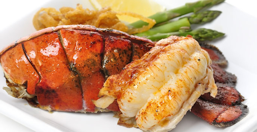 special californian food with lobsters and asparagus